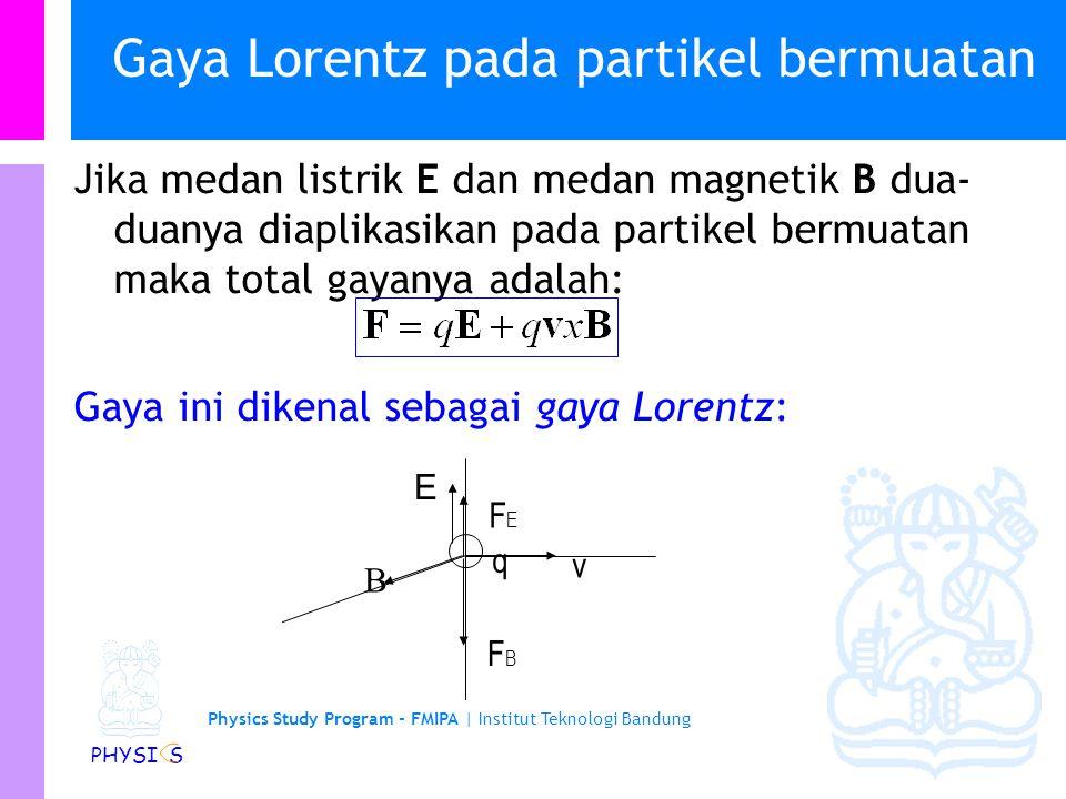 Physics Study Program - FMIPA   Institut Teknologi Bandung PHYSI S Gaya Lorentz pada partikel bermuatan Jika medan listrik E dan medan magnetik B dua- duanya diaplikasikan pada partikel bermuatan maka total gayanya adalah: Gaya ini dikenal sebagai gaya Lorentz: E q  FBFB v FEFE