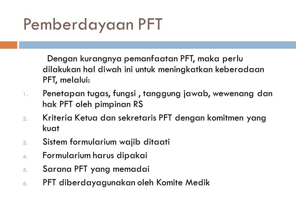 Pemberdayaan PFT Dengan kurangnya pemanfaatan PFT, maka perlu dilakukan hal diwah ini untuk meningkatkan keberadaan PFT, melalui: 1. Penetapan tugas,