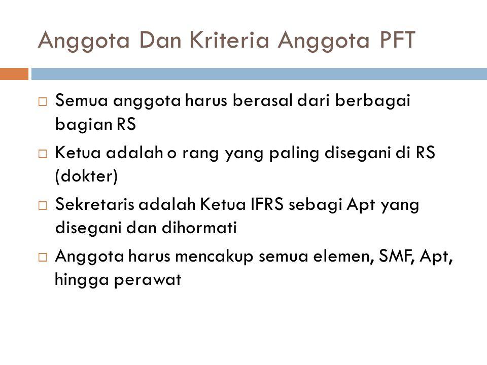 Anggota Dan Kriteria Anggota PFT  Semua anggota harus berasal dari berbagai bagian RS  Ketua adalah o rang yang paling disegani di RS (dokter)  Sek