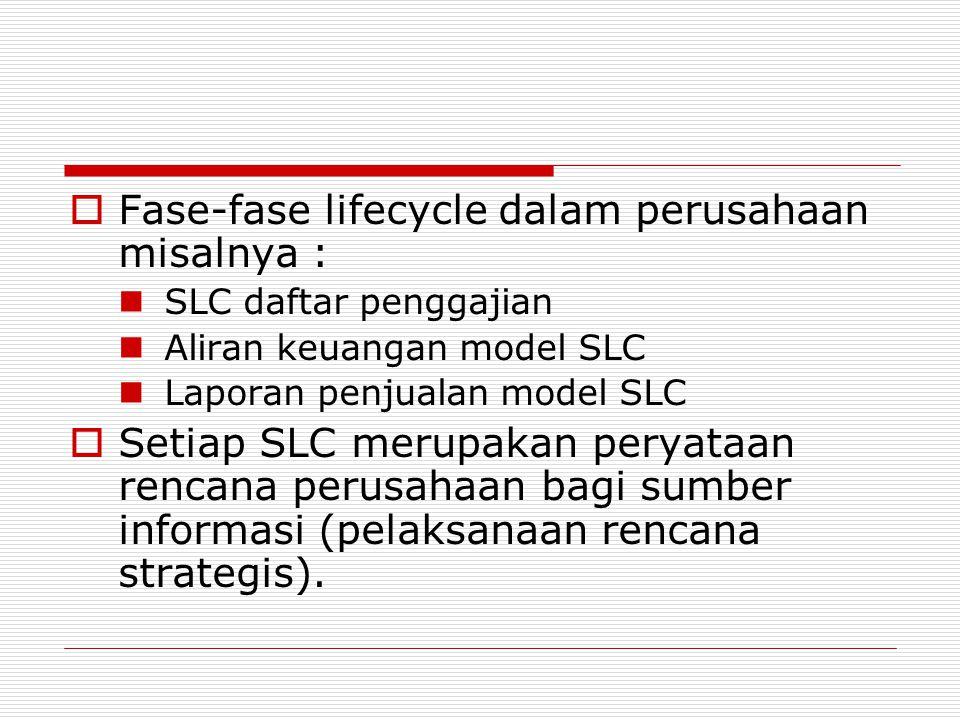  Fase-fase lifecycle dalam perusahaan misalnya : SLC daftar penggajian Aliran keuangan model SLC Laporan penjualan model SLC  Setiap SLC merupakan p