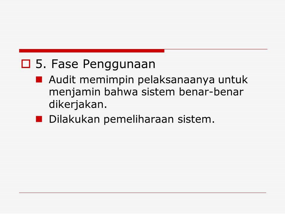  5. Fase Penggunaan Audit memimpin pelaksanaanya untuk menjamin bahwa sistem benar-benar dikerjakan. Dilakukan pemeliharaan sistem.