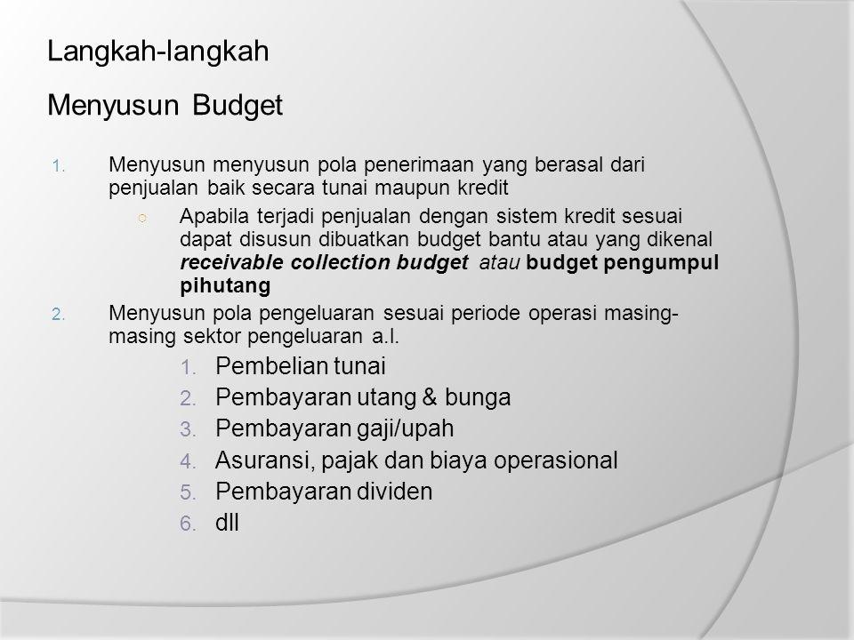 Langkah-langkah Menyusun Budget 1. Menyusun menyusun pola penerimaan yang berasal dari penjualan baik secara tunai maupun kredit ○ Apabila terjadi pen