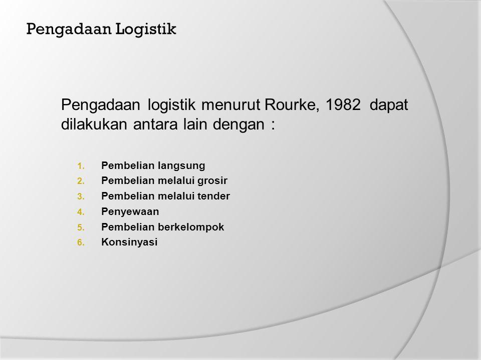 Pengadaan Logistik Pengadaan logistik menurut Rourke, 1982 dapat dilakukan antara lain dengan : 1. Pembelian langsung 2. Pembelian melalui grosir 3. P