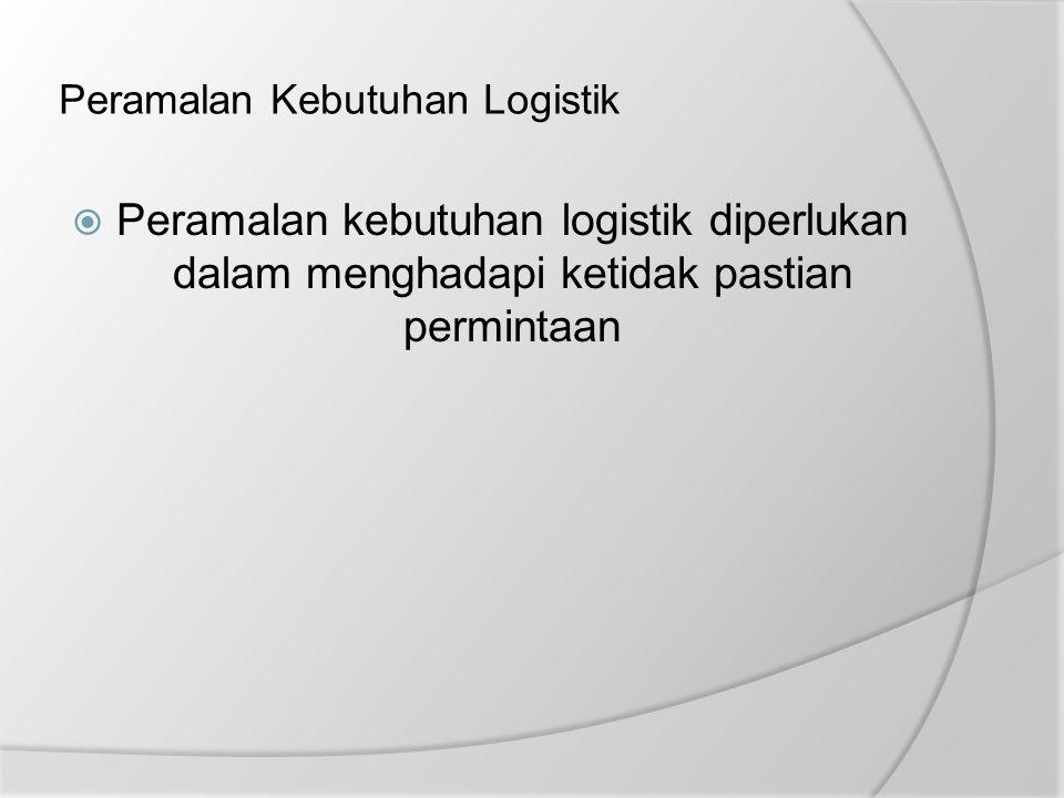 Peramalan Kebutuhan Logistik  Peramalan kebutuhan logistik diperlukan dalam menghadapi ketidak pastian permintaan