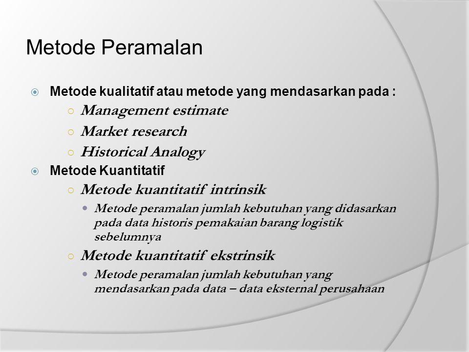 Metode Peramalan  Metode kualitatif atau metode yang mendasarkan pada : ○ Management estimate ○ Market research ○ Historical Analogy  Metode Kuantit