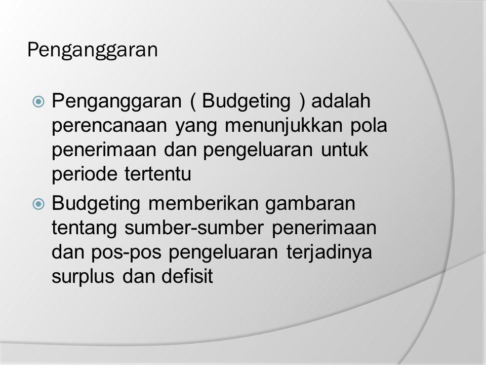 Penganggaran  Penganggaran ( Budgeting ) adalah perencanaan yang menunjukkan pola penerimaan dan pengeluaran untuk periode tertentu  Budgeting membe