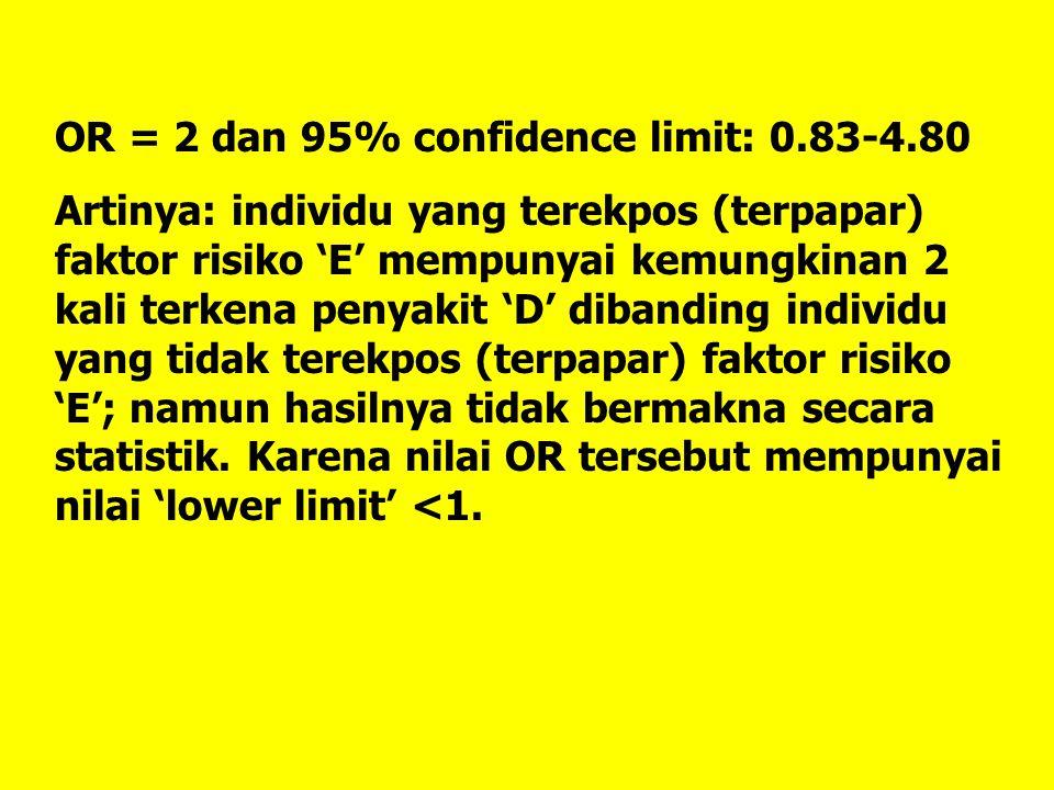 OR = 2 dan 95% confidence limit: 0.83-4.80 Artinya: individu yang terekpos (terpapar) faktor risiko 'E' mempunyai kemungkinan 2 kali terkena penyakit
