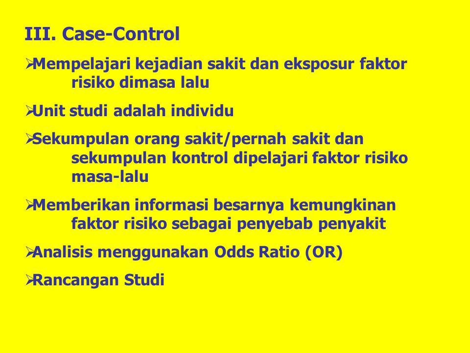 III. Case-Control  Mempelajari kejadian sakit dan eksposur faktor risiko dimasa lalu  Unit studi adalah individu  Sekumpulan orang sakit/pernah sak