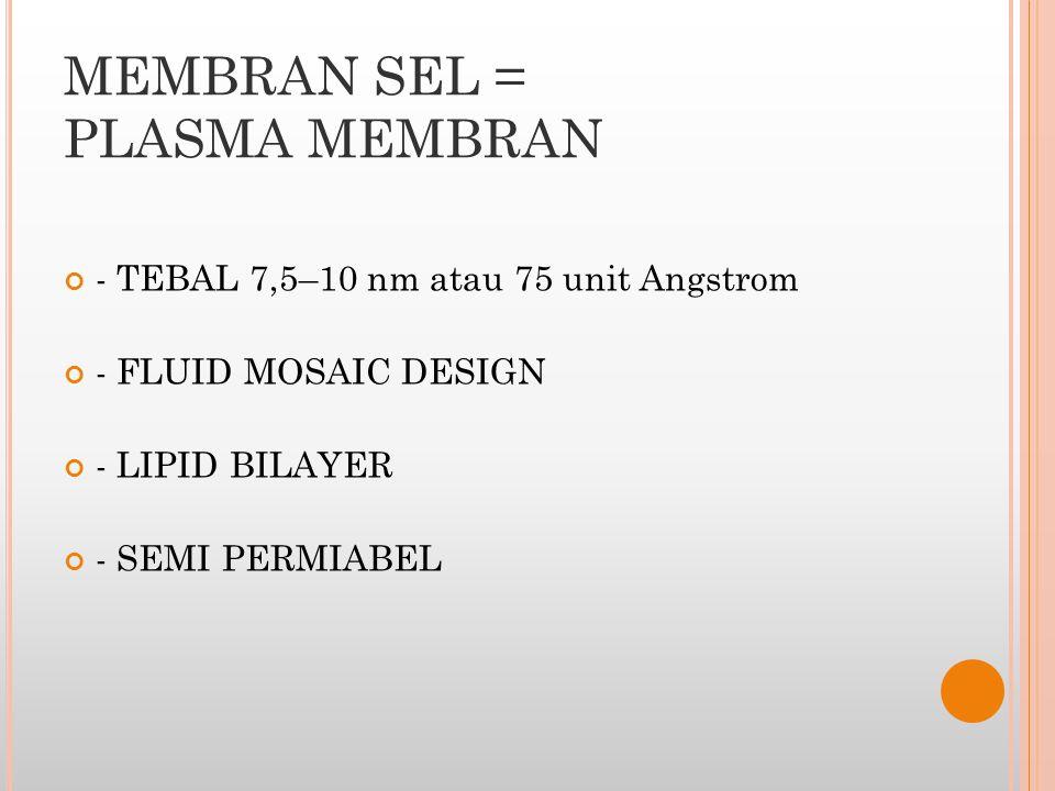 MEMBRAN SEL = PLASMA MEMBRAN - TEBAL 7,5–10 nm atau 75 unit Angstrom - FLUID MOSAIC DESIGN - LIPID BILAYER - SEMI PERMIABEL