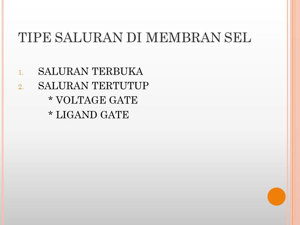 TIPE SALURAN DI MEMBRAN SEL 1. SALURAN TERBUKA 2. SALURAN TERTUTUP * VOLTAGE GATE * LIGAND GATE