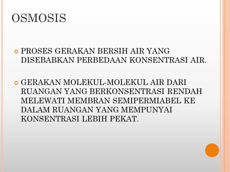 OSMOSIS PROSES GERAKAN BERSIH AIR YANG DISEBABKAN PERBEDAAN KONSENTRASI AIR. GERAKAN MOLEKUL-MOLEKUL AIR DARI RUANGAN YANG BERKONSENTRASI RENDAH MELEW