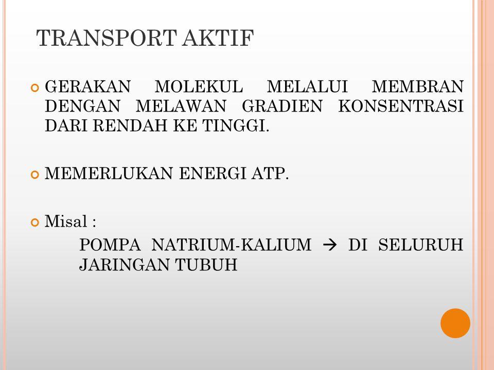 TRANSPORT AKTIF GERAKAN MOLEKUL MELALUI MEMBRAN DENGAN MELAWAN GRADIEN KONSENTRASI DARI RENDAH KE TINGGI. MEMERLUKAN ENERGI ATP. Misal : POMPA NATRIUM