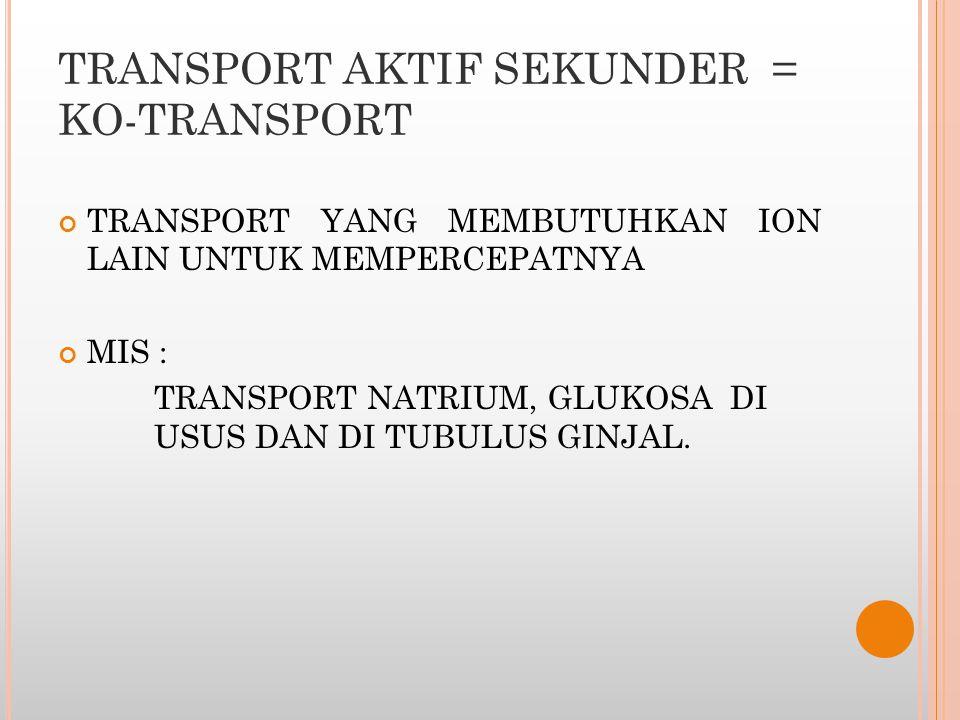 TRANSPORT AKTIF SEKUNDER = KO-TRANSPORT TRANSPORT YANG MEMBUTUHKAN ION LAIN UNTUK MEMPERCEPATNYA MIS : TRANSPORT NATRIUM, GLUKOSA DI USUS DAN DI TUBUL