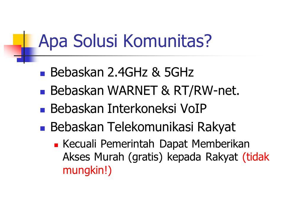 Apa Solusi Komunitas. Bebaskan 2.4GHz & 5GHz Bebaskan WARNET & RT/RW-net.