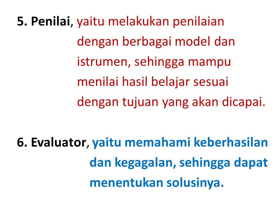5. Penilai, yaitu melakukan penilaian dengan berbagai model dan istrumen, sehingga mampu menilai hasil belajar sesuai dengan tujuan yang akan dicapai.
