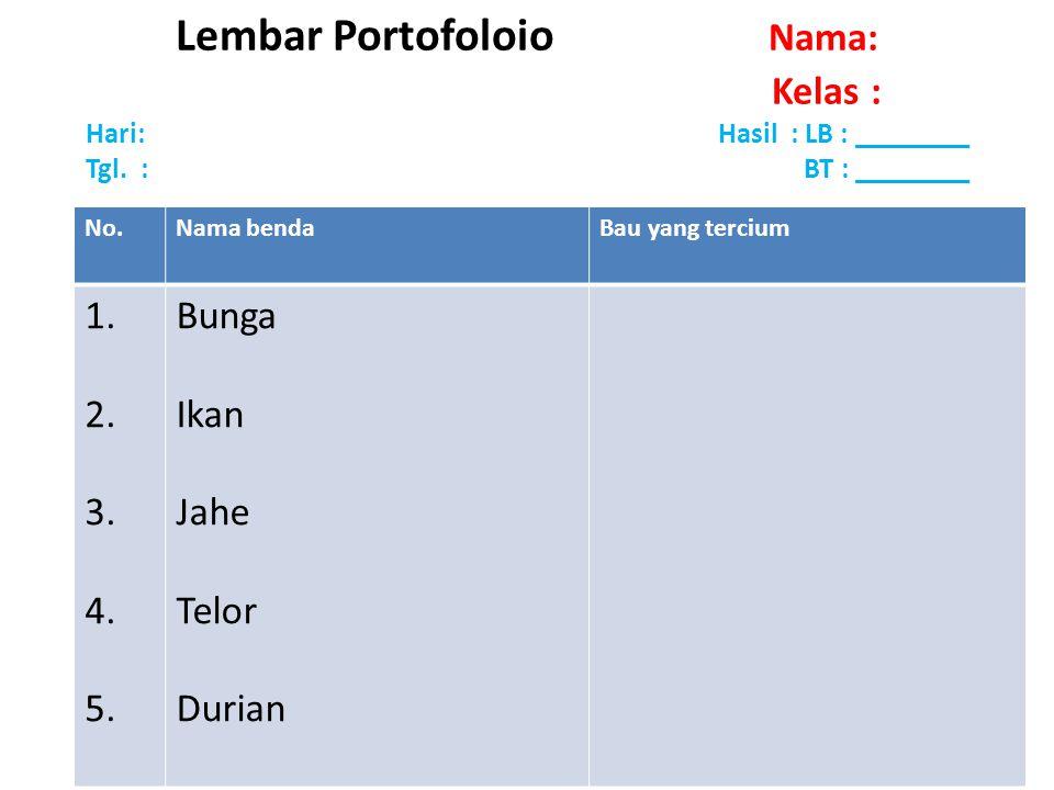 Lembar Portofoloio Nama: Kelas : Hari: Hasil : LB : ________ Tgl. : BT : ________ No.Nama bendaBau yang tercium 1. 2. 3. 4. 5. Bunga Ikan Jahe Telor D