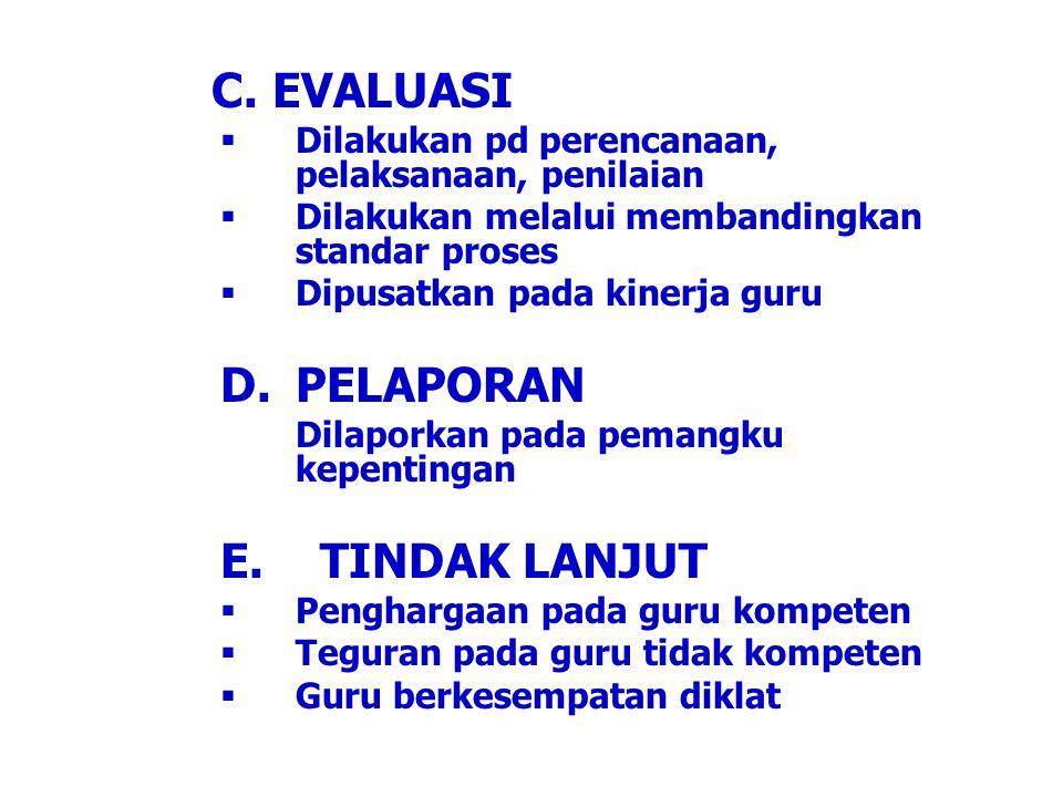 C. EVALUASI  Dilakukan pd perencanaan, pelaksanaan, penilaian  Dilakukan melalui membandingkan standar proses  Dipusatkan pada kinerja guru D.PELAP