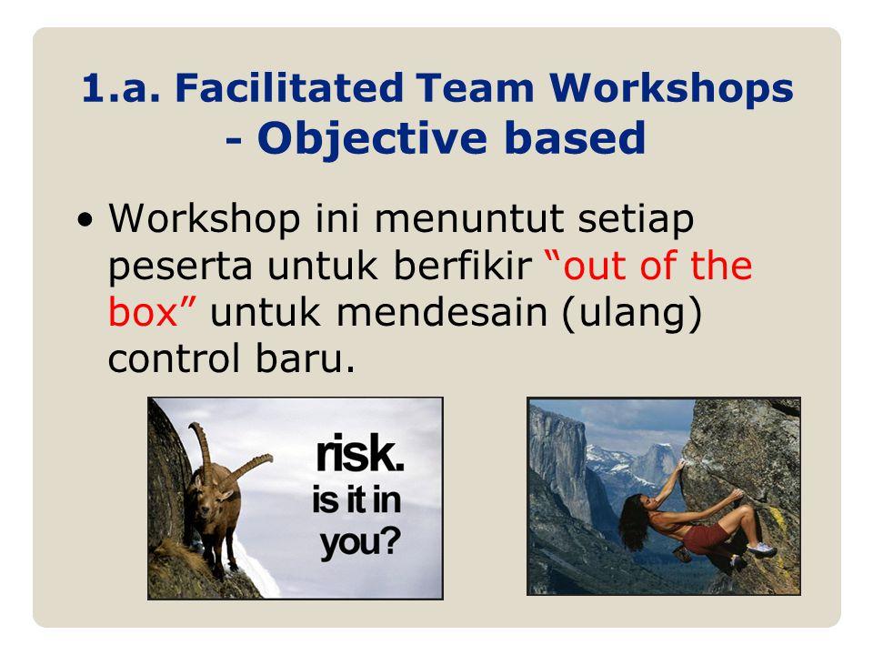 """1.a. Facilitated Team Workshops - Objective based Workshop ini menuntut setiap peserta untuk berfikir """"out of the box"""" untuk mendesain (ulang) control"""