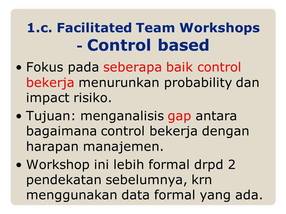 1.c. Facilitated Team Workshops - Control based Fokus pada seberapa baik control bekerja menurunkan probability dan impact risiko. Tujuan: menganalisi