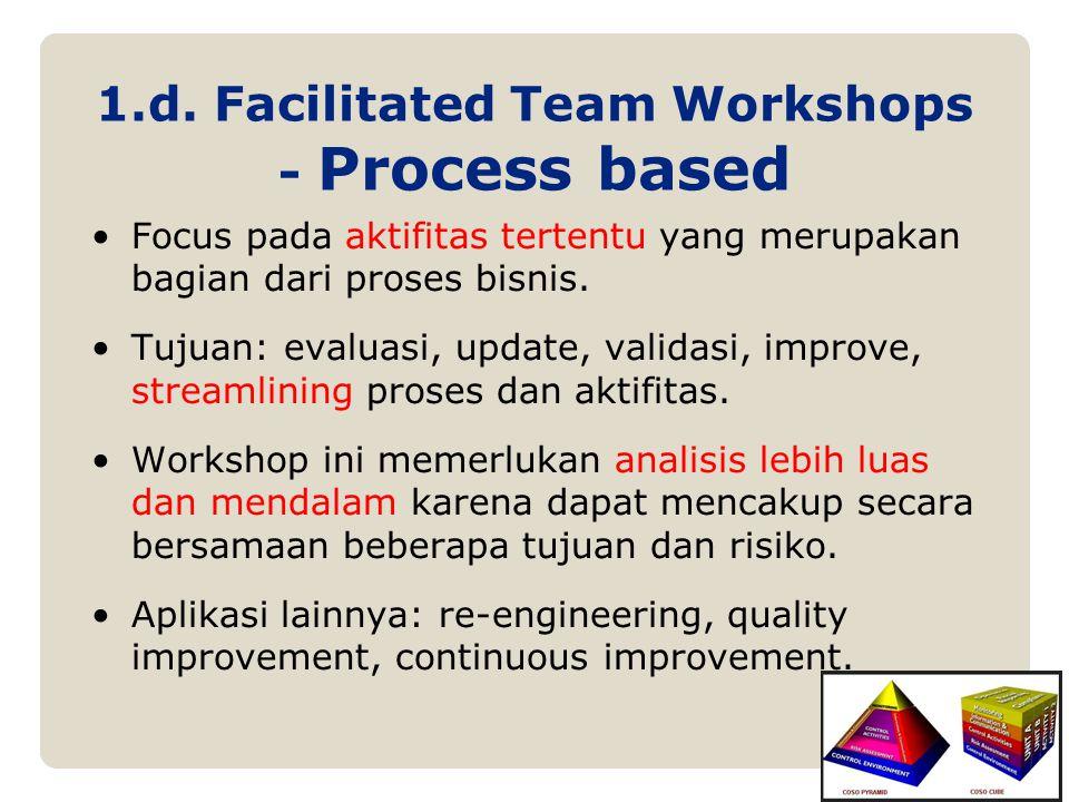 1.d. Facilitated Team Workshops - Process based Focus pada aktifitas tertentu yang merupakan bagian dari proses bisnis. Tujuan: evaluasi, update, vali