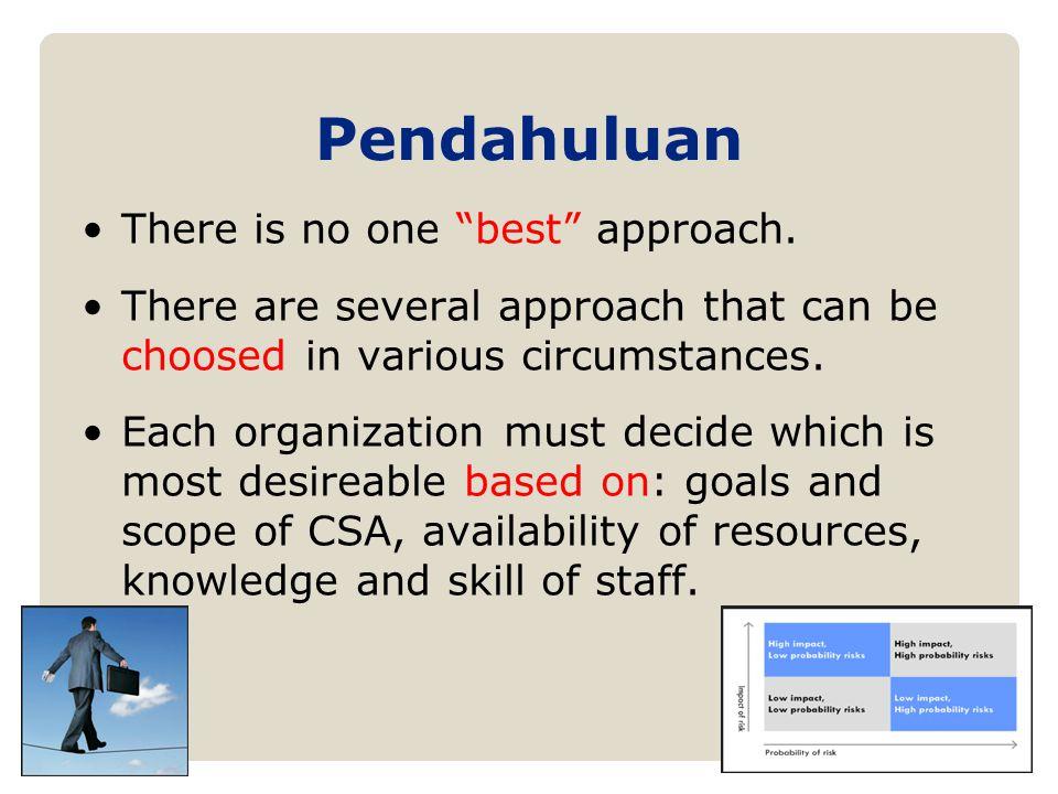 RCSA Formats/Approaches Organisasi dapat memilih satu atau gabungan dari beberapa format sbb: 1.Facilitated Team Workshops: a)Objective based b)Risk-based c)Control based d)Process based e)Situational 2.Surveys 3.Management Produced Analysis