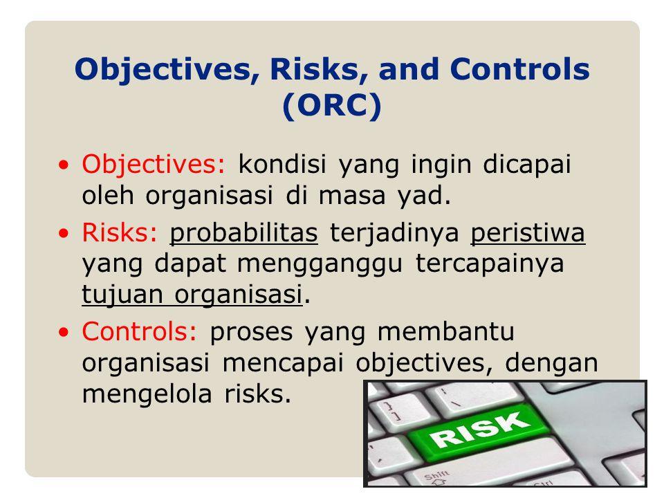 Objectives, Risks, and Controls (ORC) Objectives: kondisi yang ingin dicapai oleh organisasi di masa yad. Risks: probabilitas terjadinya peristiwa yan