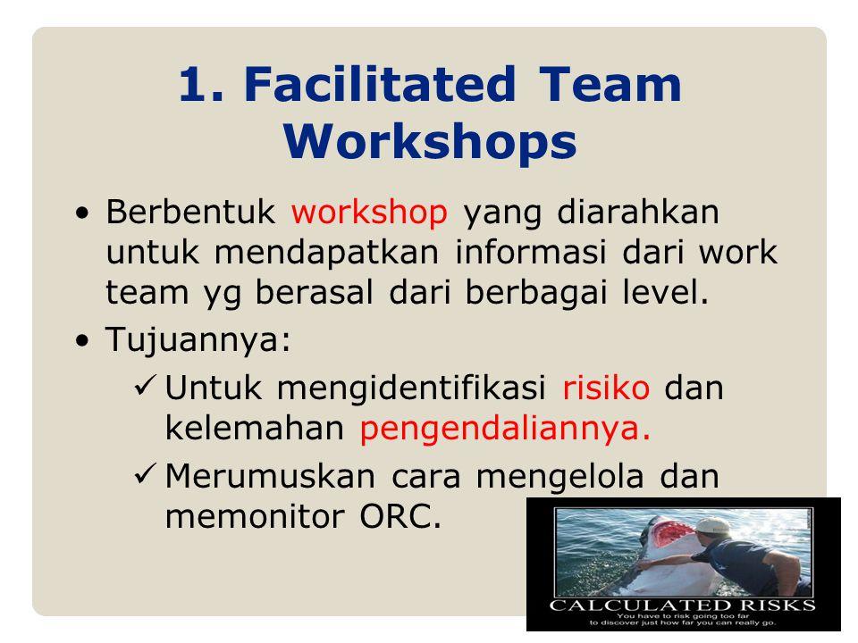 1. Facilitated Team Workshops Berbentuk workshop yang diarahkan untuk mendapatkan informasi dari work team yg berasal dari berbagai level. Tujuannya: