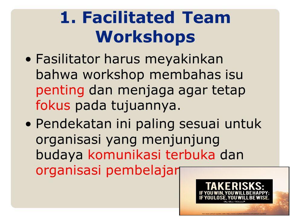 Fasilitator harus meyakinkan bahwa workshop membahas isu penting dan menjaga agar tetap fokus pada tujuannya. Pendekatan ini paling sesuai untuk organ