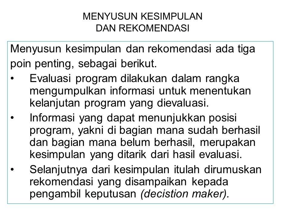 MENYUSUN KESIMPULAN DAN REKOMENDASI Menyusun kesimpulan dan rekomendasi ada tiga poin penting, sebagai berikut. Evaluasi program dilakukan dalam rangk