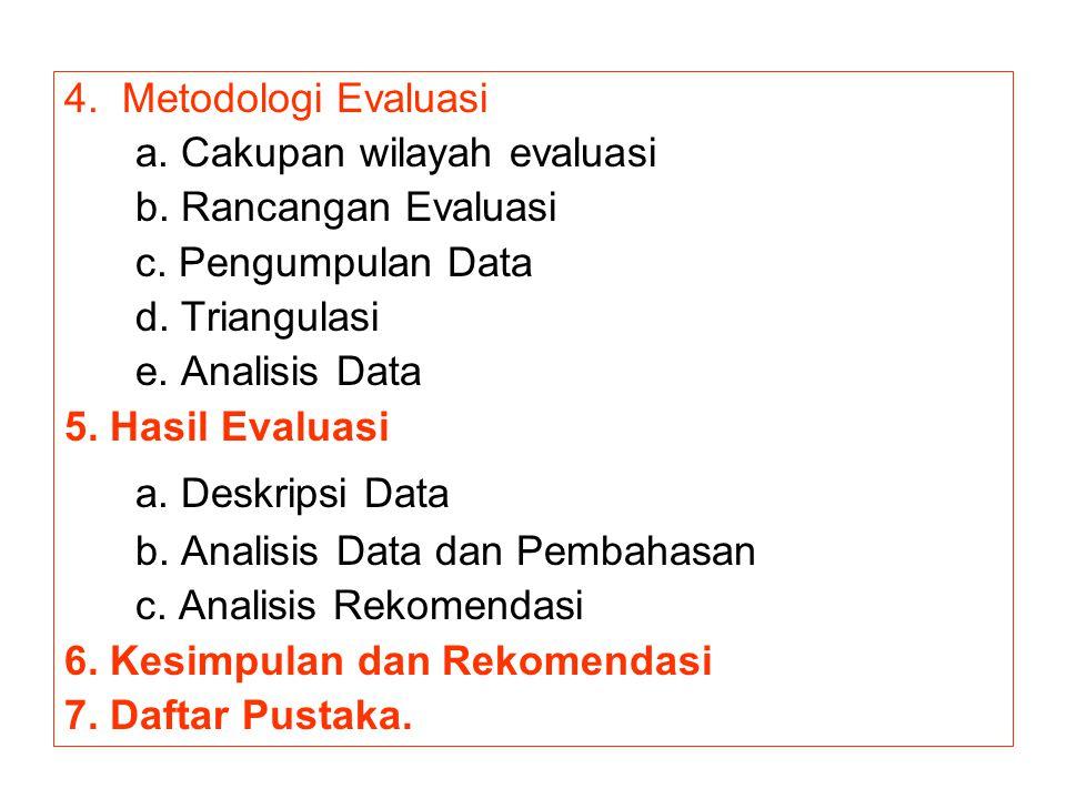 4. Metodologi Evaluasi a. Cakupan wilayah evaluasi b. Rancangan Evaluasi c. Pengumpulan Data d. Triangulasi e. Analisis Data 5. Hasil Evaluasi a. Desk