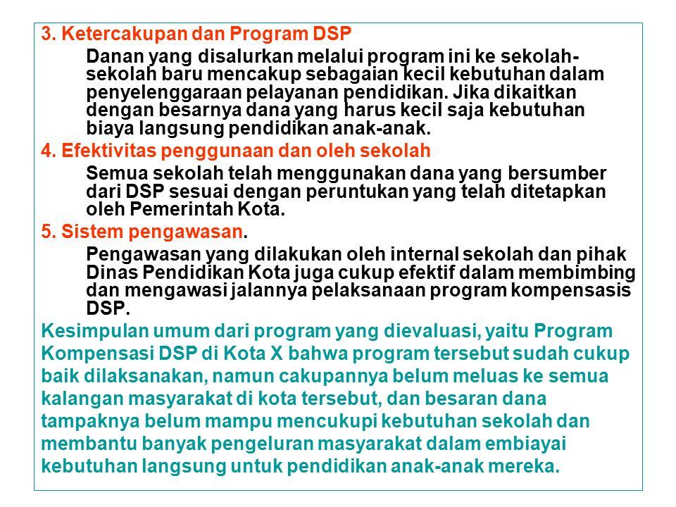 3. Ketercakupan dan Program DSP Danan yang disalurkan melalui program ini ke sekolah- sekolah baru mencakup sebagaian kecil kebutuhan dalam penyelengg