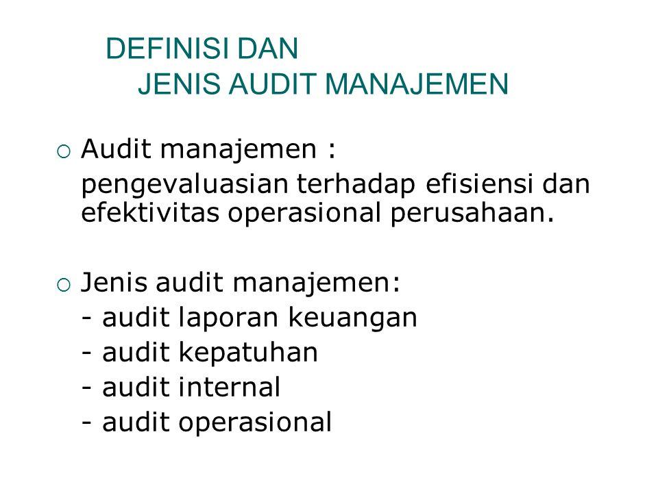 TIPE AUDIT, PELAKSANA, TUJUAN DAN PENERIMA LAPORANNYA TIPE AUDIT PELAKSANA AUDIT TUJUAN AUDIT PENERIMA LAPORAN Audit laporan keuangan Auditor Eksternal Menentukan apakah laporan auditee telah disusun sesuai dengan prinsip-prinsip akuntansi yang berlaku umum Pihak ketiga (investor dan kreditor) Audit Kepatuhan Auditor Internal atau auditor eksternal Menentukan tingkat kepatuhan suatu entitas terhadap hukum, kebijakan, rencana dan prosedur Manajemen entitas yang bersangkutan, pemerintah Audit internalAuditor Internal  Menilai keandalan laporan keuangan  Menentukan tingkat kepatuhan suatu entitas  Menilai pengendalian internal organisasi  Menilai efisiensi dan efektivitas penggunaan sumber daya  Program Peninjauan terhadap konsistensi hasil dengan tujuan organisasi Manajemen dari entitas yang bersangkutan Audit operasional (manajemen) Auditor Eksternal atau Internal Menilai efisiensi dan efektivitas penggunaan sumber daya Manajemen dari entitas yang bersangkutan