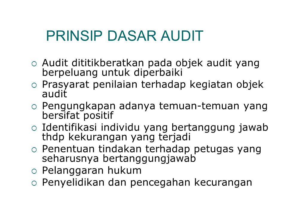PRINSIP DASAR AUDIT  Audit dititikberatkan pada objek audit yang berpeluang untuk diperbaiki  Prasyarat penilaian terhadap kegiatan objek audit  Pe