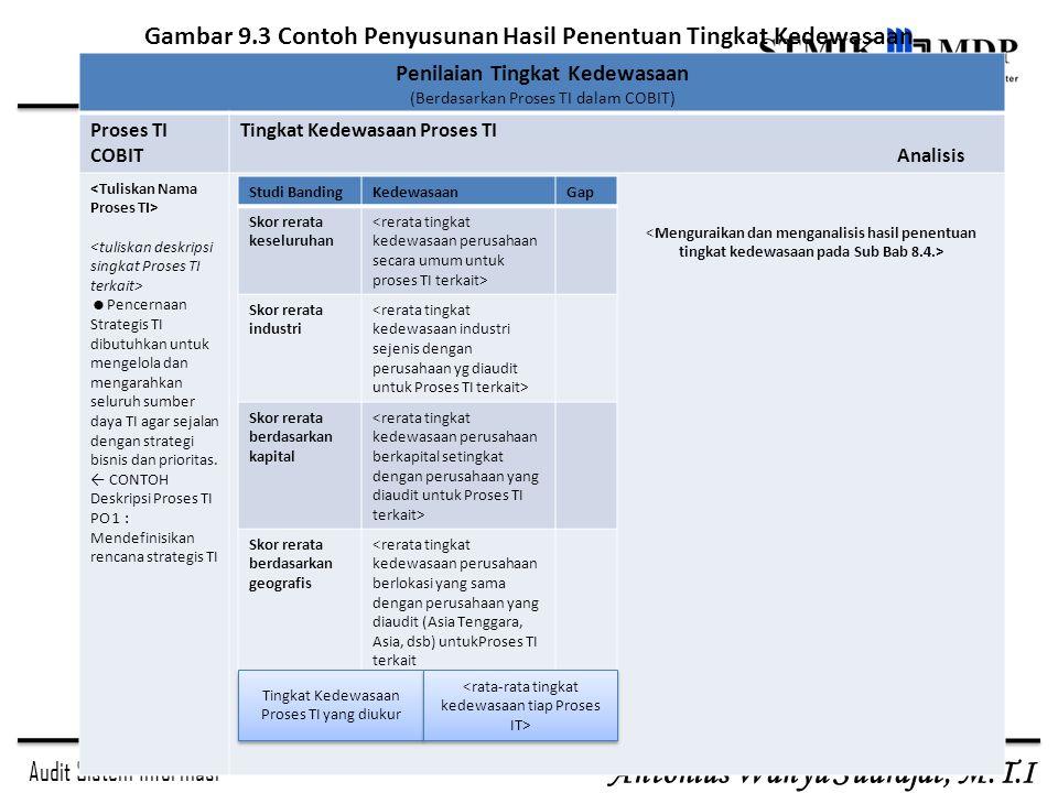 Audit Sistem Informasi Antonius Wahyu Sudrajat, M.T.I Gambar 9.3 Contoh Penyusunan Hasil Penentuan Tingkat Kedewasaan Penilaian Tingkat Kedewasaan (Be