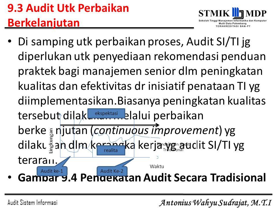 Audit Sistem Informasi Antonius Wahyu Sudrajat, M.T.I 9.3 Audit Utk Perbaikan Berkelanjutan Di samping utk perbaikan proses, Audit SI/TI jg diperlukan