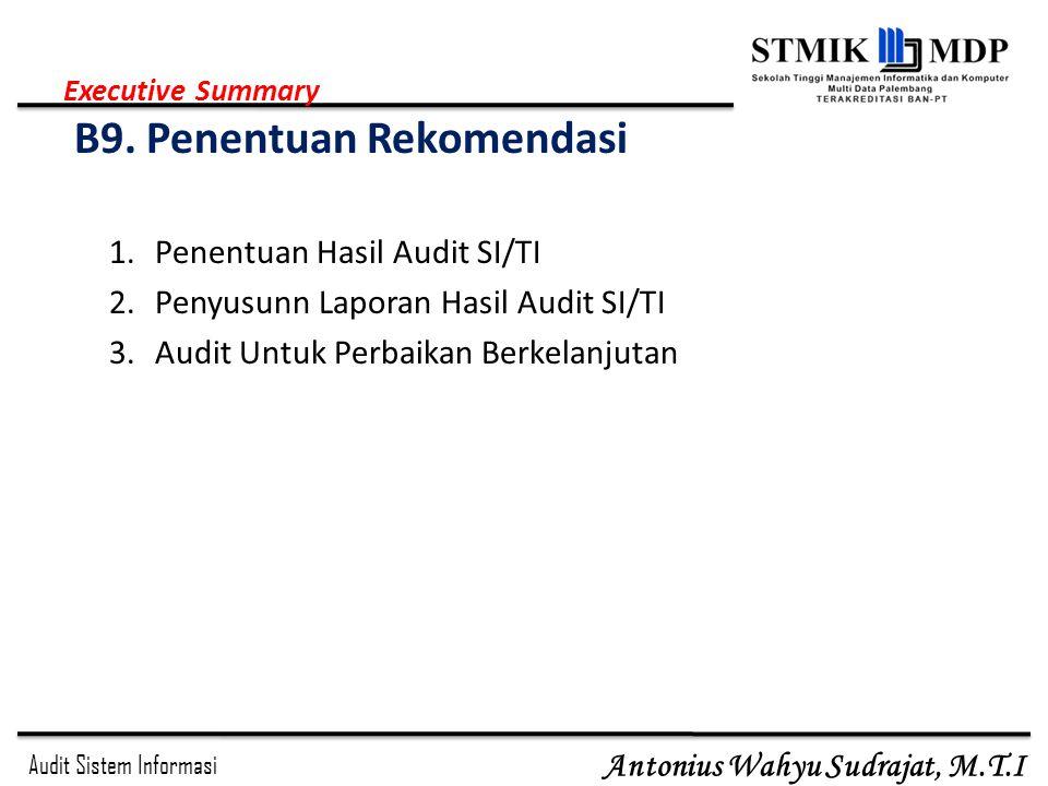 Audit Sistem Informasi Antonius Wahyu Sudrajat, M.T.I 1.Penentuan Hasil Audit SI/TI 2.Penyusunn Laporan Hasil Audit SI/TI 3.Audit Untuk Perbaikan Berk