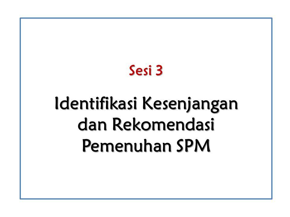 Setelah mengikuti sesi ini, peserta diharapkan mampu menjelaskan cara: menentukan keterpenuhan SPM berdasarkan data satuan pendidikan, mengidentifikasi kesenjangan yang masih ada dalam rangka pemenuhan SPM, merumuskan rekomendasi dalam rangka pemenuhan SPM.