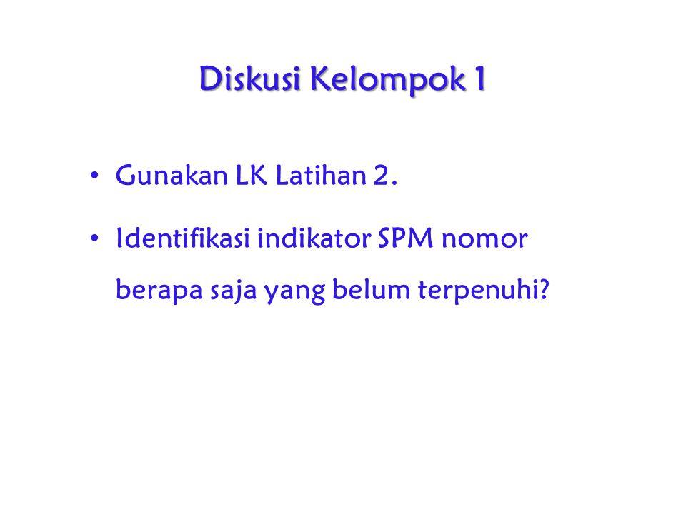 Diskusi Kelompok 1 Gunakan LK Latihan 2. Identifikasi indikator SPM nomor berapa saja yang belum terpenuhi?
