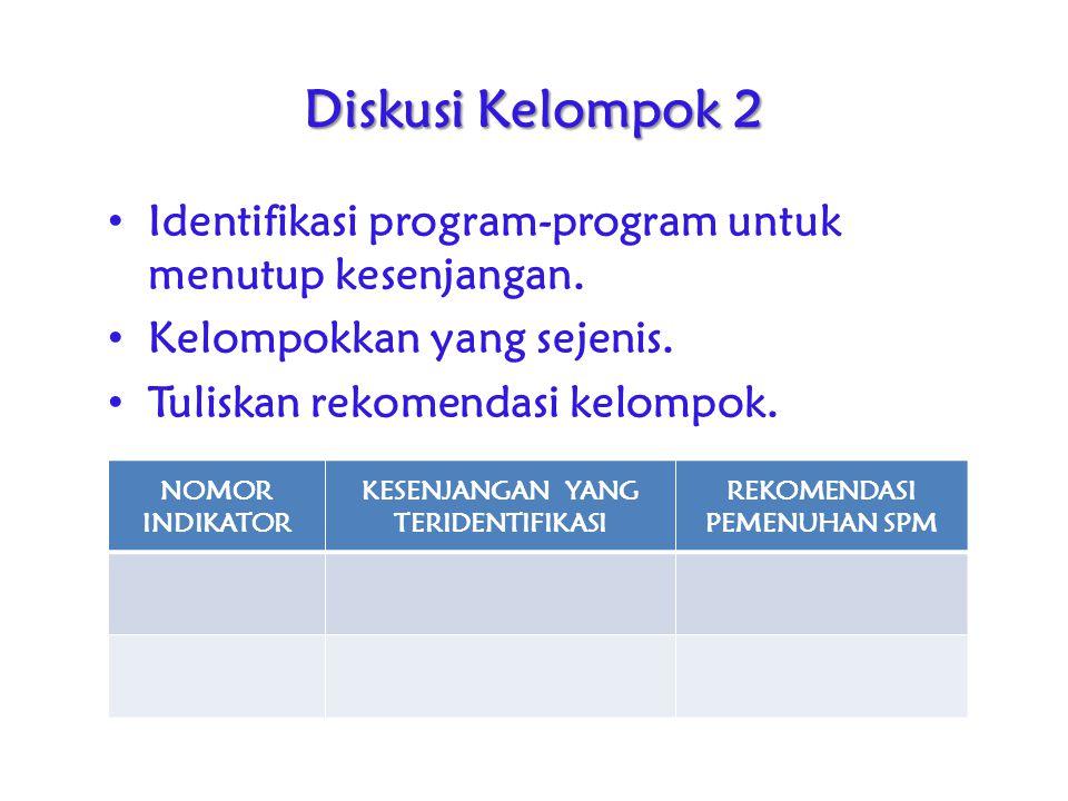 Diskusi Kelompok 2 Identifikasi program-program untuk menutup kesenjangan. Kelompokkan yang sejenis. Tuliskan rekomendasi kelompok. NOMOR INDIKATOR KE