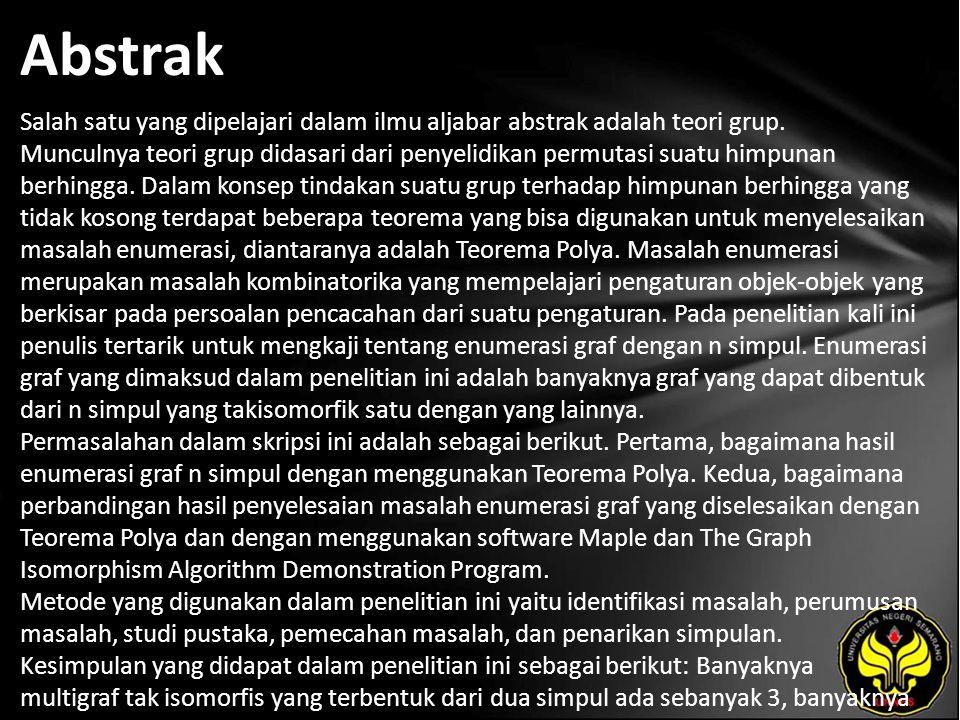 Kata Kunci indeks siklik, teorema polya, isomorfik graf