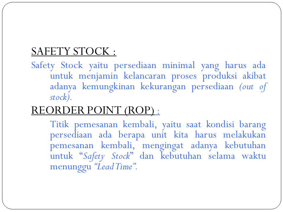 SAFETY STOCK : Safety Stock yaitu persediaan minimal yang harus ada untuk menjamin kelancaran proses produksi akibat adanya kemungkinan kekurangan per