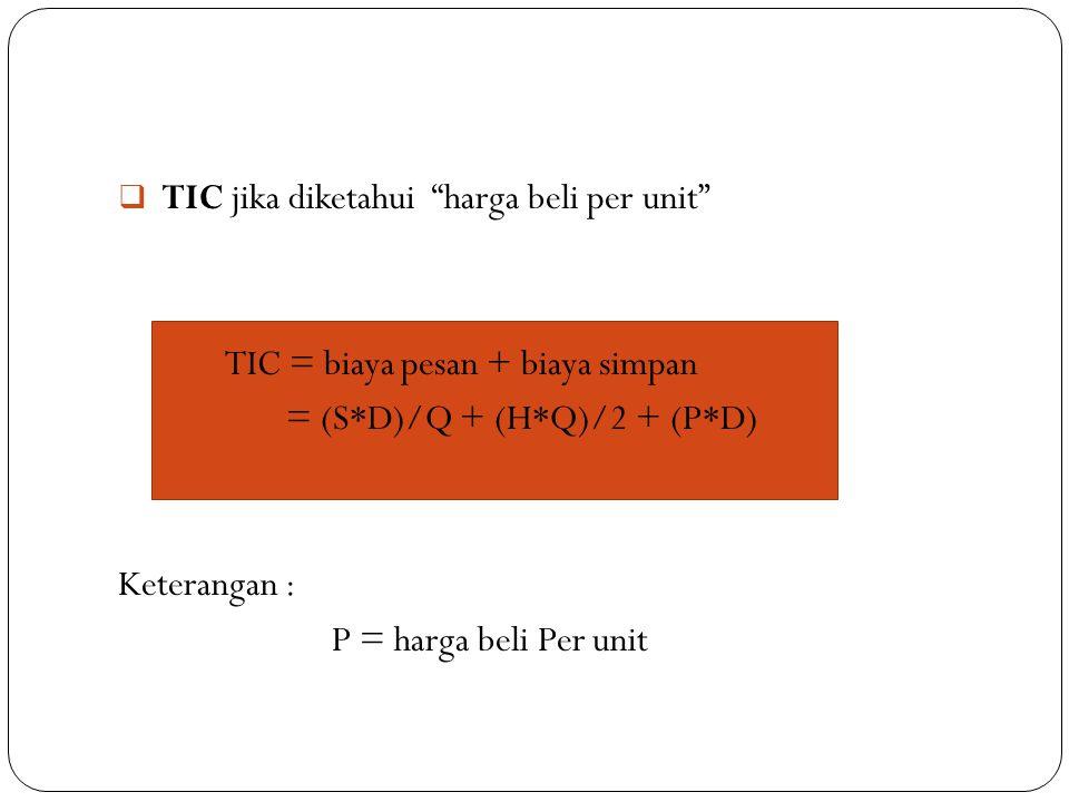 """ TIC jika diketahui """"harga beli per unit"""" TIC = biaya pesan + biaya simpan = (S*D)/Q + (H*Q)/2 + (P*D) Keterangan : P = harga beli Per unit"""
