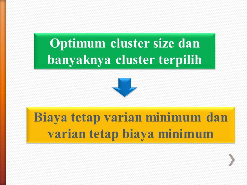 Optimum cluster size dan banyaknya cluster terpilih Biaya tetap varian minimum dan varian tetap biaya minimum