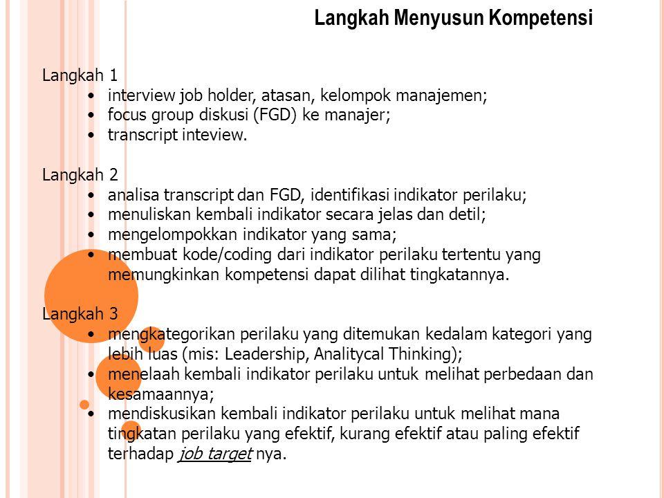 Langkah 1 interview job holder, atasan, kelompok manajemen; focus group diskusi (FGD) ke manajer; transcript inteview. Langkah 2 analisa transcript da