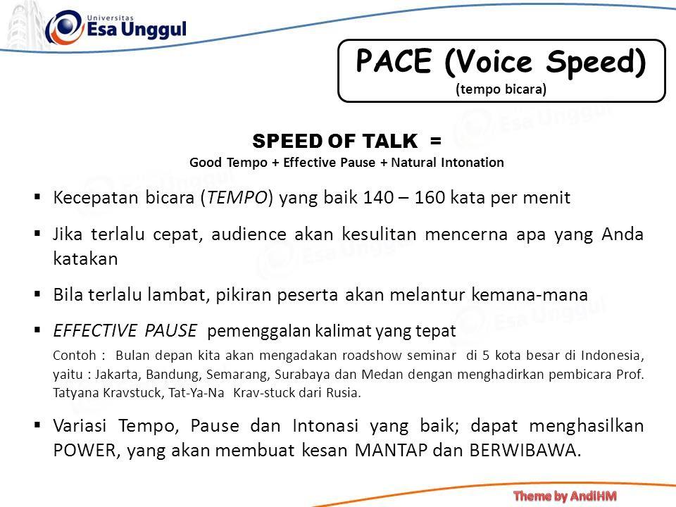  Kecepatan bicara (TEMPO) yang baik 140 – 160 kata per menit  Jika terlalu cepat, audience akan kesulitan mencerna apa yang Anda katakan  Bila terl