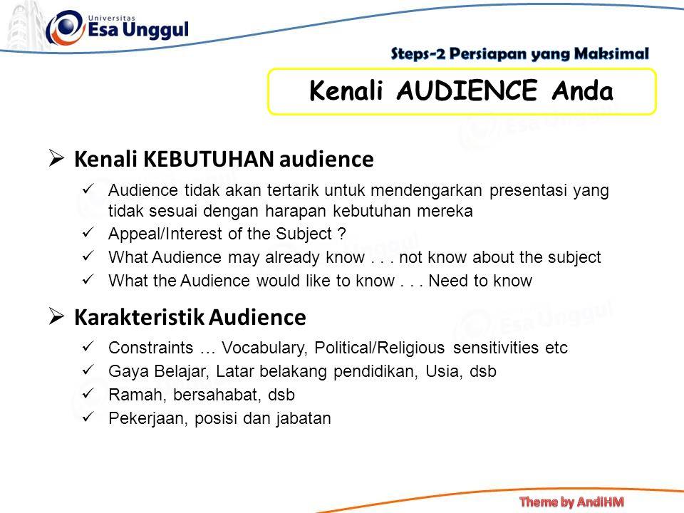  Kenali KEBUTUHAN audience Audience tidak akan tertarik untuk mendengarkan presentasi yang tidak sesuai dengan harapan kebutuhan mereka Appeal/Intere