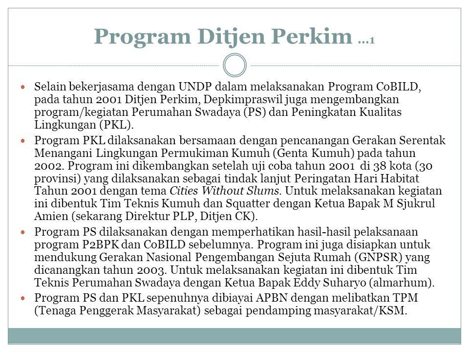 Program Ditjen Perkim...1 Selain bekerjasama dengan UNDP dalam melaksanakan Program CoBILD, pada tahun 2001 Ditjen Perkim, Depkimpraswil juga mengemba