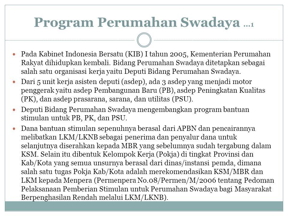 Program Perumahan Swadaya...1 Pada Kabinet Indonesia Bersatu (KIB) I tahun 2005, Kementerian Perumahan Rakyat dihidupkan kembali. Bidang Perumahan Swa