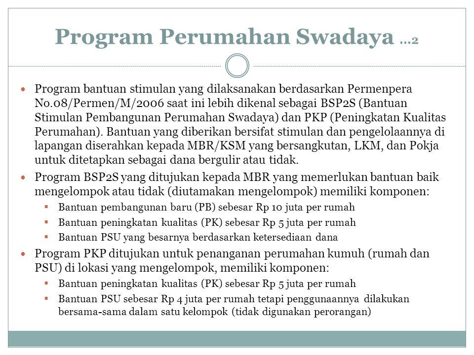 Program Perumahan Swadaya...2 Program bantuan stimulan yang dilaksanakan berdasarkan Permenpera No.08/Permen/M/2006 saat ini lebih dikenal sebagai BSP