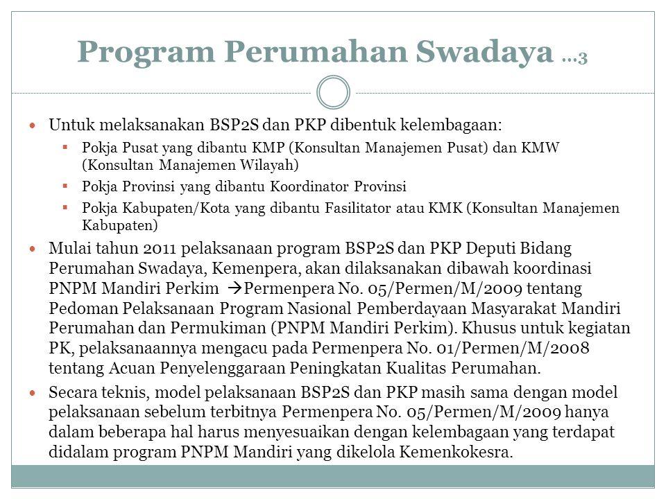 Program Perumahan Swadaya...3 Untuk melaksanakan BSP2S dan PKP dibentuk kelembagaan:  Pokja Pusat yang dibantu KMP (Konsultan Manajemen Pusat) dan KM